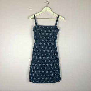 Vintage 90's Moschino Denim Body-con Star Dress